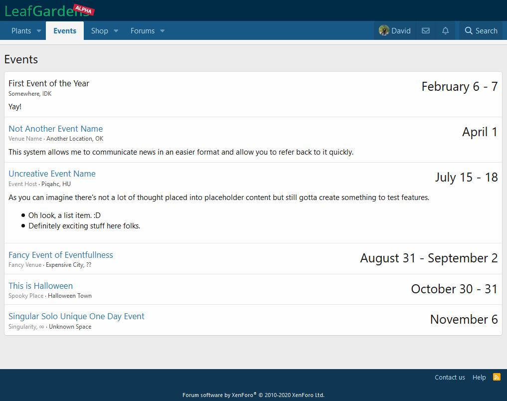 LeafGardens Event Manager beta 1 preview